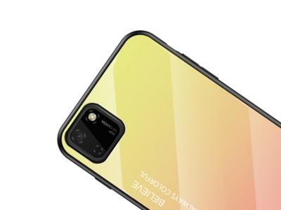 Стъклен гръб Glass за Huawei Y5p/Honor 9S, Жълт-Розов