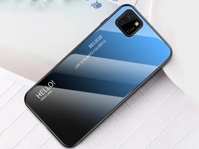 Стъклен гръб Glass за Huawei Y5p/Honor 9S, Син-Черен