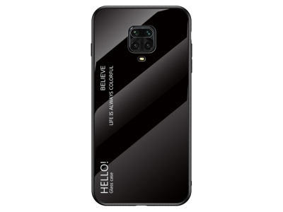 Стъклен гръб Glass за Xiaomi Redmi Note 9 Pro/9S, Черен