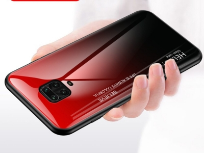 Стъклен гръб Glass за Xiaomi Redmi Note 9 Pro/9S, Червен- Черен