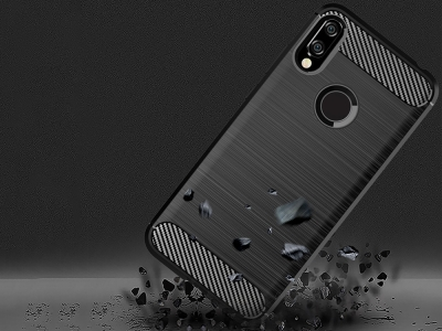 Силиконов гръб Carbon Fibre Brushed за Huawei Y6P (2020), Черен