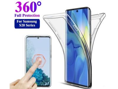 360 градуса Силиконов Калъф за Samsung Galaxy S20 Ultra, Прозрачен