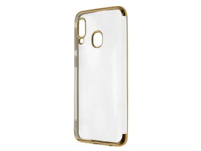 Силиконов гръб с лайстна CLEAR за Samsung Galaxy A20e, Златист