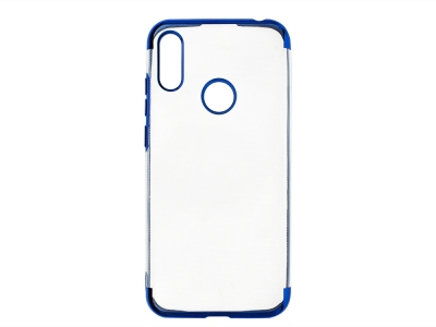 Силиконов гръб с лайстна CLEAR за Huawei Y6 (2019), Син
