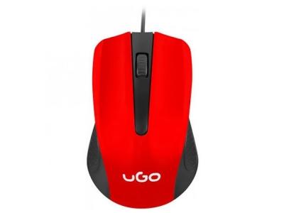 Мишка uGo UMY-1214 Оптична 1200dpi, Червена/ Черна