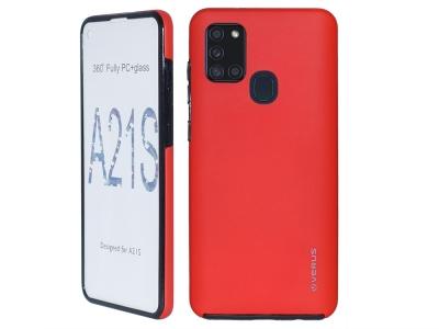 360 Градуса Калъф за Samsung Galaxy A21s, Червен