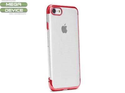 Силиконов гръб с лайстна CLEAR за iPhone 7 / 8 / SE 2020, Червен