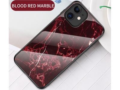 Стъклен гръб Glass за iPhone 12 Mini, Червен Мрамор