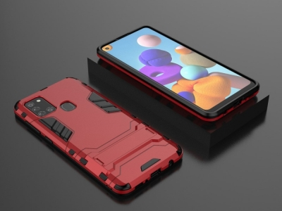 Удароустойчив Калъф с Поставка за Samsung Galaxy A21s, Червен