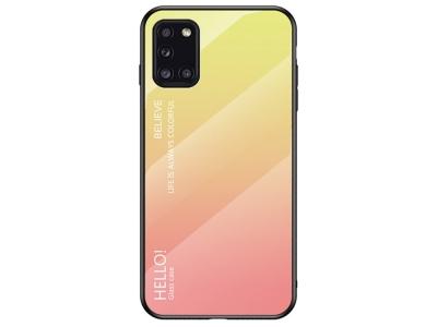 Стъклен гръб Glass за Samsung Galaxy A31, Жълт-Розов