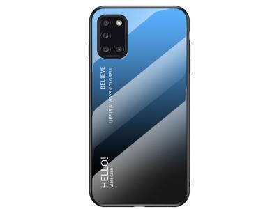 Стъклен гръб Glass за Samsung Galaxy A31, Син-Черен