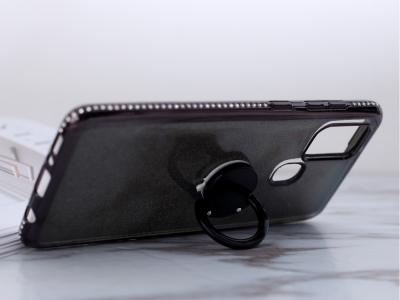 Силиконов гръб Metal Kickstand за Samsung Galaxy A21s, Черен