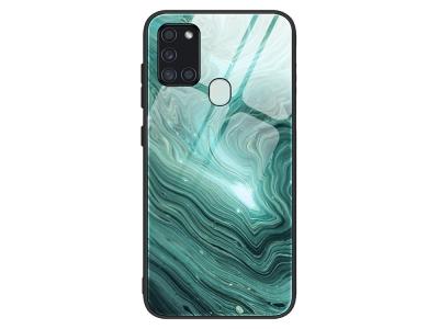 Стъклен гръб Glass за Samsung Galaxy A21s, Зелен мрамор