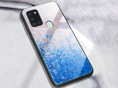 Стъклен гръб Glass за Samsung Galaxy A21s, Син мрамор
