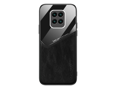 Удароустойчив гръб Leather and Glass за Xiaomi Redmi 10X 4G, Черен