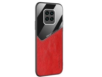 Удароустойчив гръб Leather and Glass за Xiaomi Redmi 10X 4G, Червен