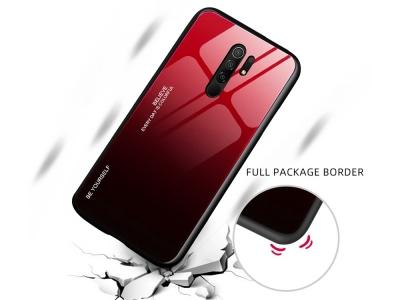 Стъклен гръб Glass за Xiaomi Redmi 9, Червен-Черен