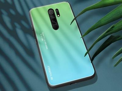 Стъклен гръб Glass за Xiaomi Redmi 9, Зелен-Син