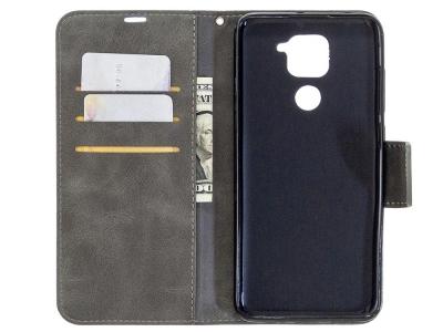 Калъф Тефтер Leather за Xiaomi Redmi Note 9, Сив