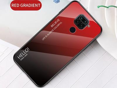 Стъклен гръб Glass за Xiaomi Redmi Note 9, Червен-Черен