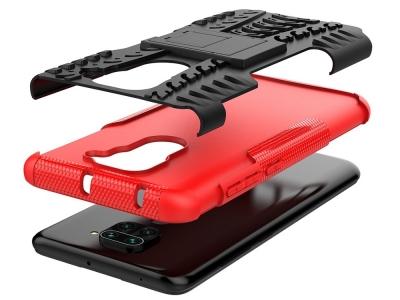 Удароустойчив гръб с поставка Hybrid за Xiaomi Redmi Note 9, Черен-Червен