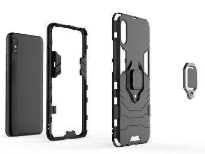 Удароустойчив Гръб Ring Holder за Xiaomi Redmi 9A, Черен