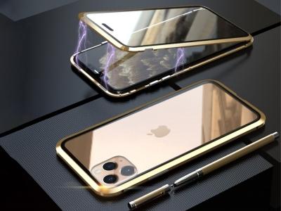 360 Алуминиев магнитен калъф LUPHIE за iPhone 11 Pro 5.8 inch, Златист