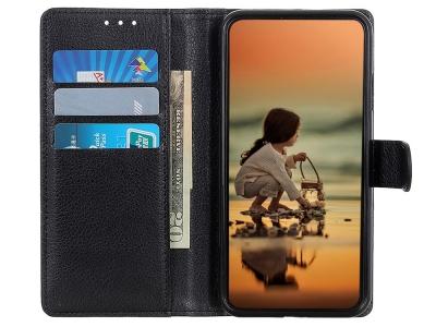 Калъф Тефтер Litchi за Samsung Galaxy A20s, Черен