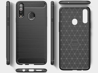 Силиконов Калъф Carbon за Samsung Galaxy A20s, Черен