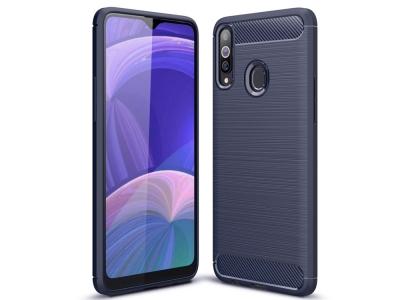 Силиконов Калъф Carbon за Samsung Galaxy A20s, Тъмно син