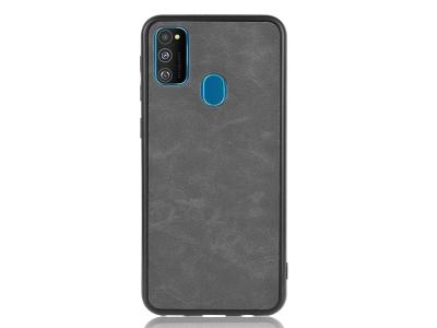 Удароустойчив гръб Leather Coated за Samsung Galaxy M21 / M30s, Черен