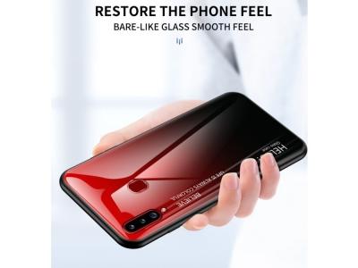 Стъклен Гръб Glass за Samsung Galaxy A20s, Черен/ Червен