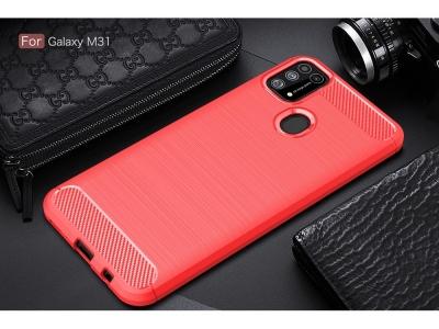 Силиконов Калъф Carbon за Samsung Galaxy M31, Червен