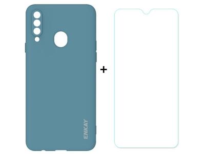 Силиконов калъф ENKAY със стъклен протектор 2.5D Arc Edge за Samsung Galaxy A20s, Син
