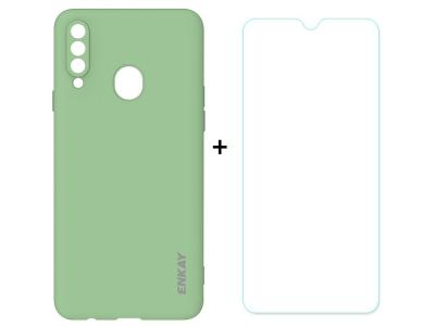 Силиконов калъф ENKAY със стъклен протектор 2.5D Arc Edge за Samsung Galaxy A20s, Зелен