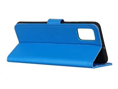 Калъф Тефтер Litchi Grain Wallet за Motorola Moto G9 Plus, Син