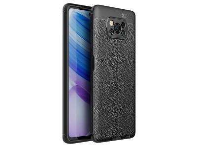 Силиконов калъф Litchi за Xiaomi Poco X3 NFC/Poco X3, Черен