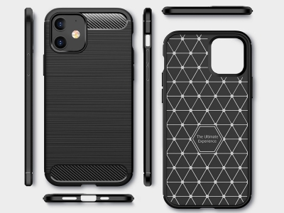 Силиконов Калъф Carbon за iPhone 12 Mini, Черен
