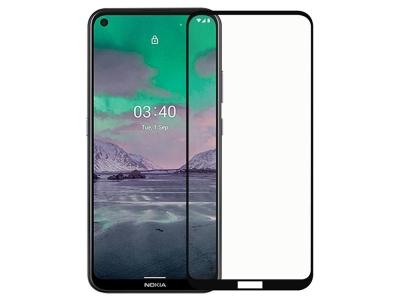 Стъклен Проектор Full Glue 5D за Nokia 3.4, Черен