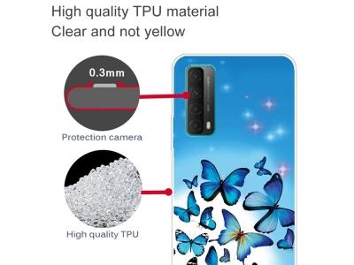 Силиконов калъф за Huawei P smart 2021 / Huawei Y7a, Сини пеперуди