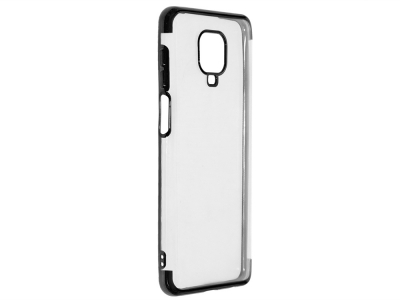 Силиконов гръб с лайстна CLEAR за Xiaomi Redmi Note 9 Pro, Черен