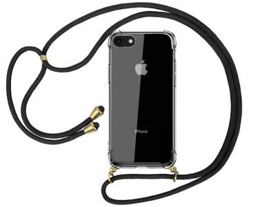 Силиконов калъф с връзка Cord Case за iPhone 7 / iPhone 8 / SE 2020, Черна връзка