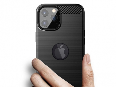 Силиконов Калъф Carbon за iPhone 11 Pro Max, Черен