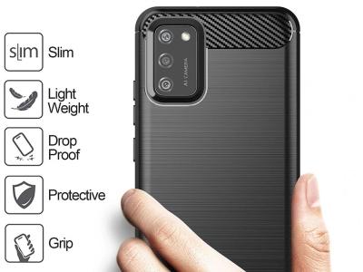 Силиконов Калъф Carbon Fibre за Samsung Galaxy A02s, Черен