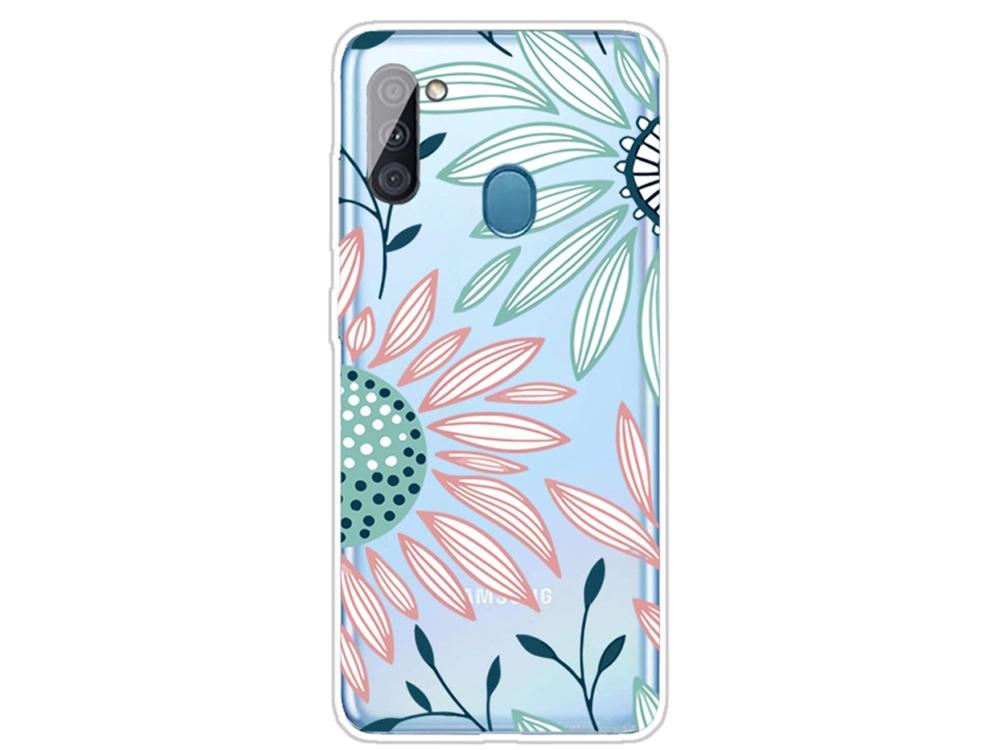 Силиконов калъф за Samsung Galaxy A11, Рисувани цветя