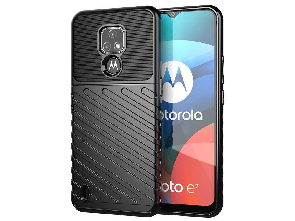 Силиконов Калъф Twill Texture за Motorola Moto E7, Черен