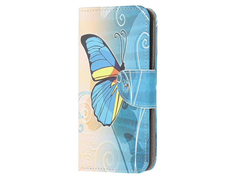 Калъф Тефтер за Motorola Moto E7, Синя пеперуда
