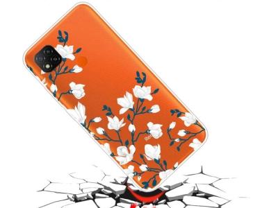 Силиконов калъф за Xiaomi Redmi 9C, Бели цветя