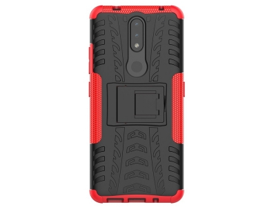 Удароустойчив калъф с поставка Hybrid за Nokia 2.4, Червен