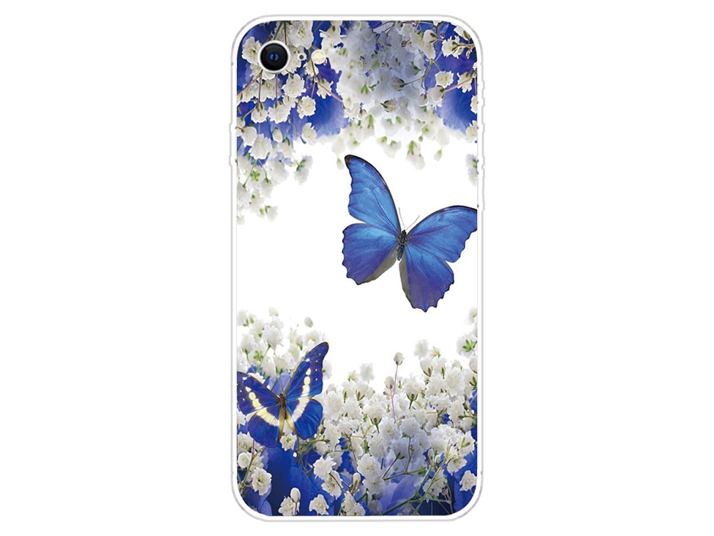 Силиконов калъф за iPhone SE/8/7, Синя пеперуда